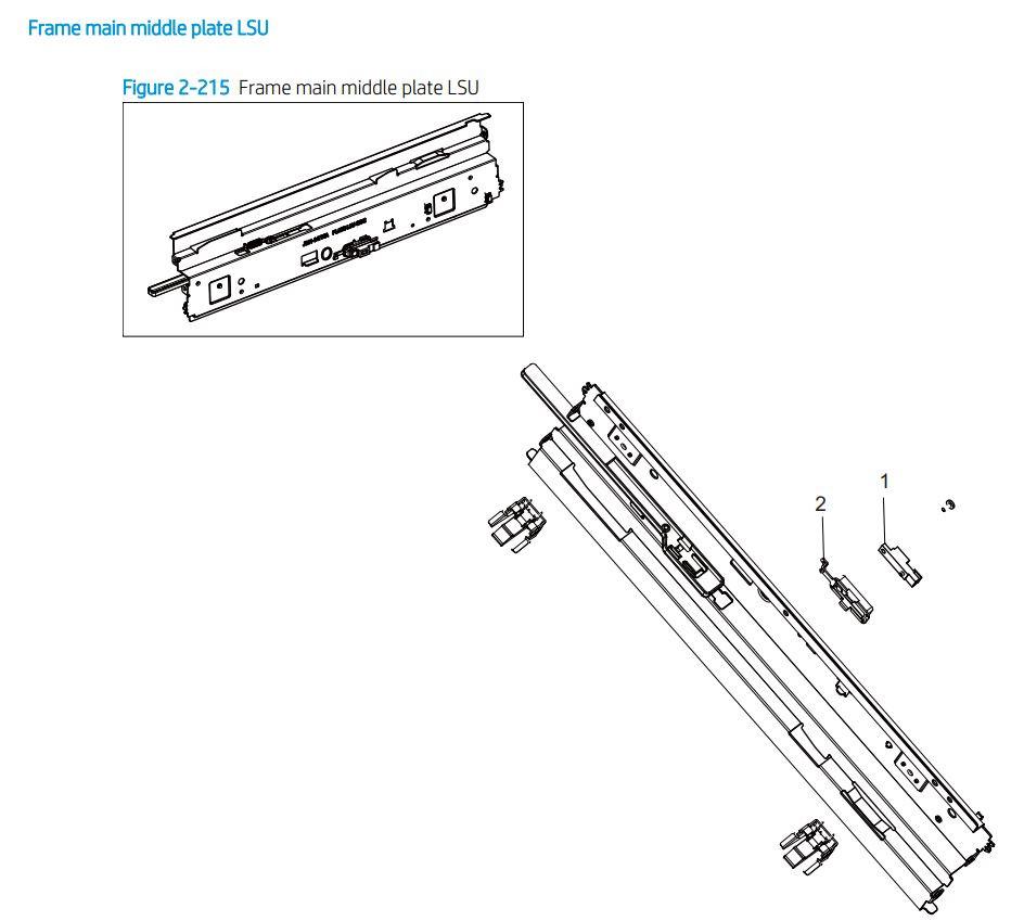 17. HP E77422 E77428 Frame main middle plate LSU printer parts diagram