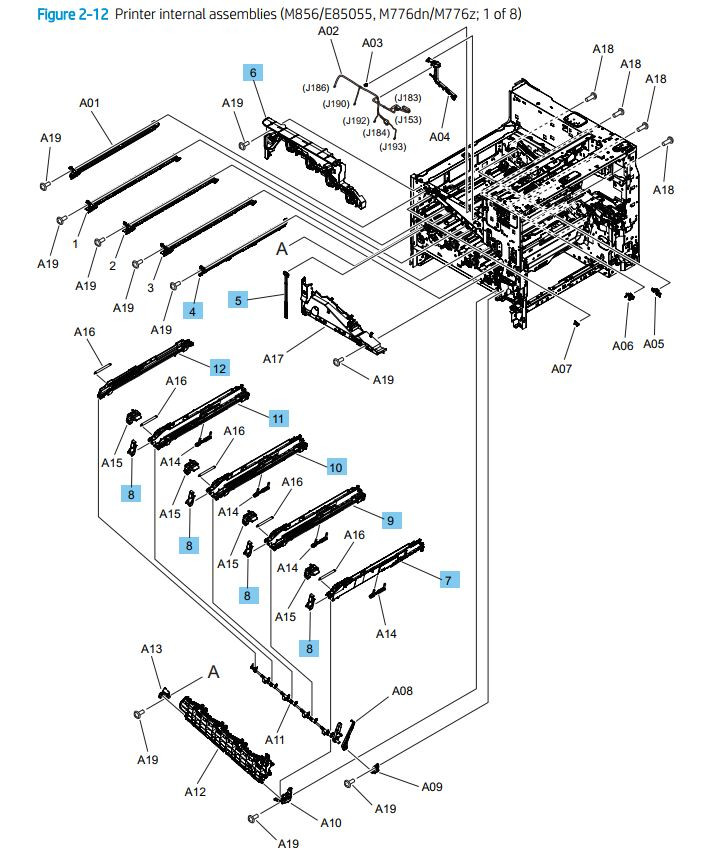 12. HP M776dn M776z M856 E85055 Printer internal assemblies 1 of 8 printer parts diagram