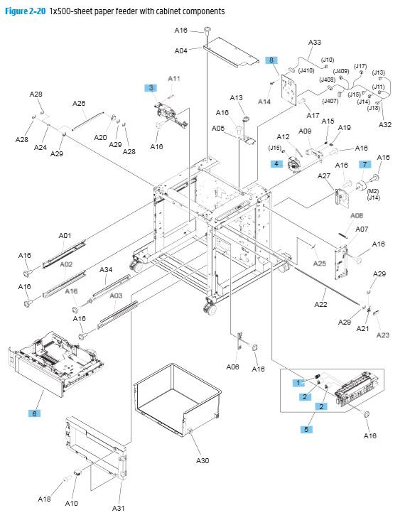 20. HP M680 M651 1x500 sheet paper feeder with cabinet components printer parts diagram