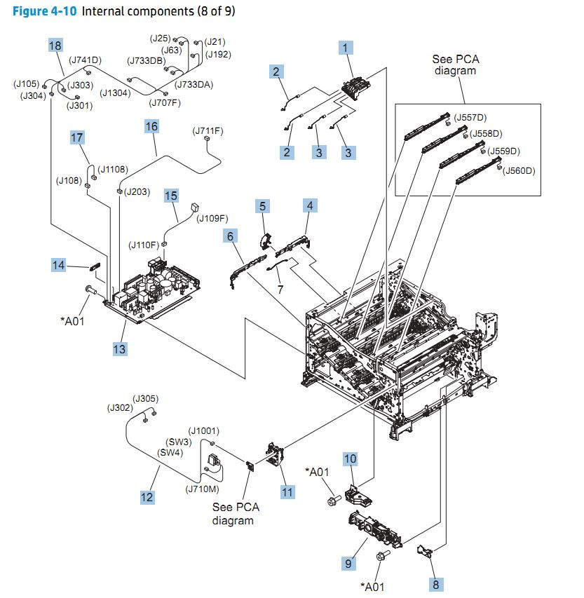 10. HP CP5525n Internal Components 8 of 9 printer parts diagram