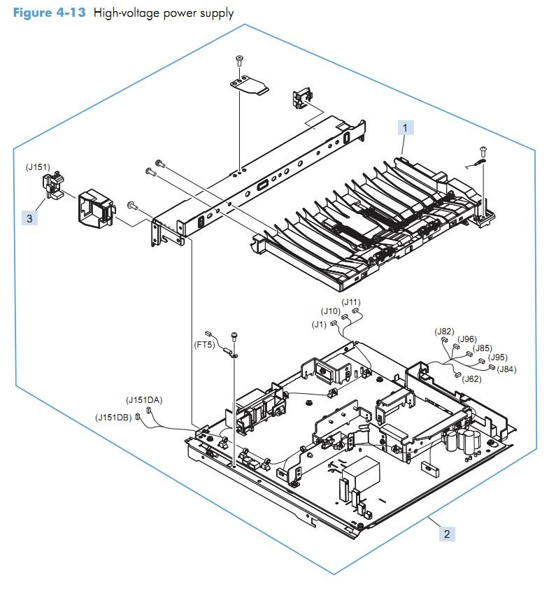 8. HP M4555 High voltage power supply HVPS printer parts diagram