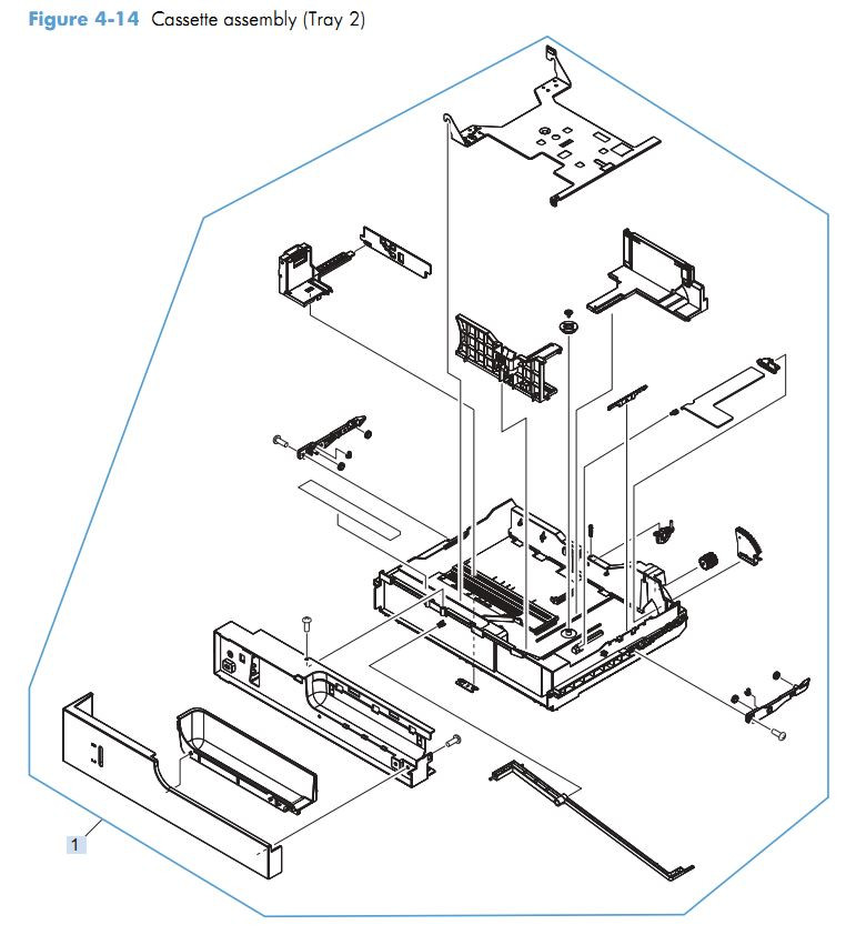 9. HP M4555 Paper tray cassette assembly tray 2 printer parts diagram