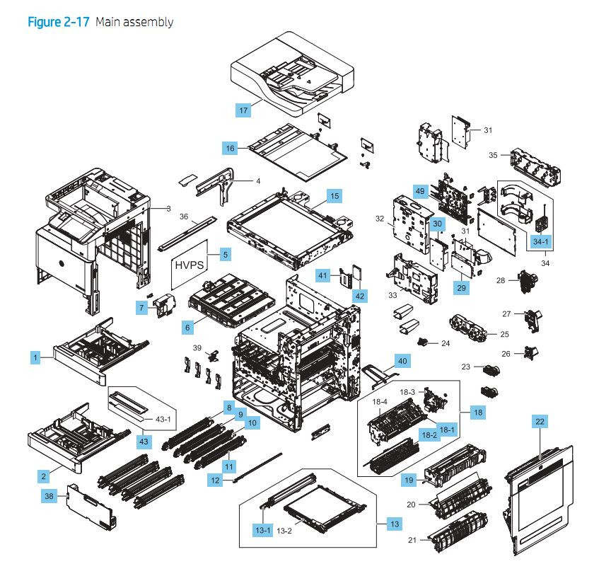 1. HP E87640 E87650 E87660 Main Assembly Printer Part Diagrams