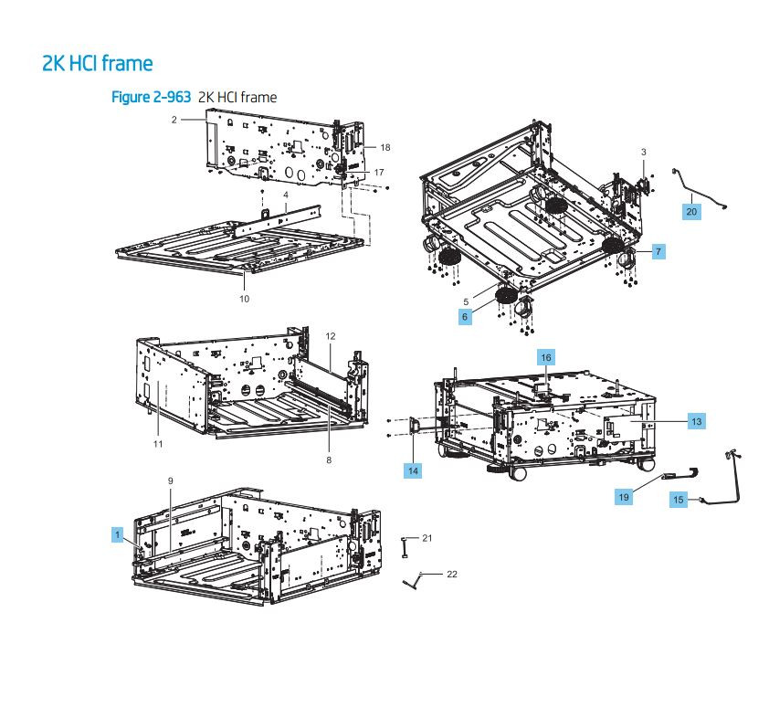 36. HP LaserJet E82540 E82550 E82560 2000 sheet frame HCI cassette paper tray Printer Parts Diagram