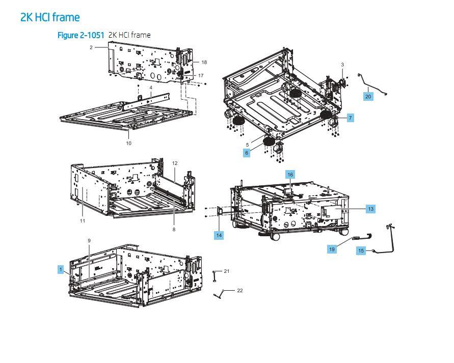 35. HP E87640 E87650 E87660 2000 Sheet HCI Feeder Frame Printer Part Diagrams