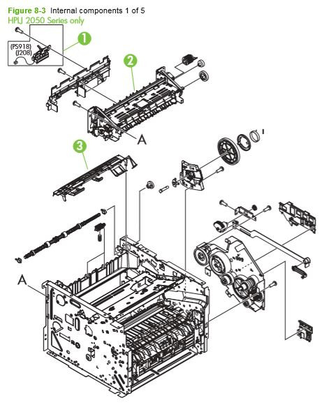 3. HP P2050 P2055 Internal assemblies 1 of 5 printer parts diagram