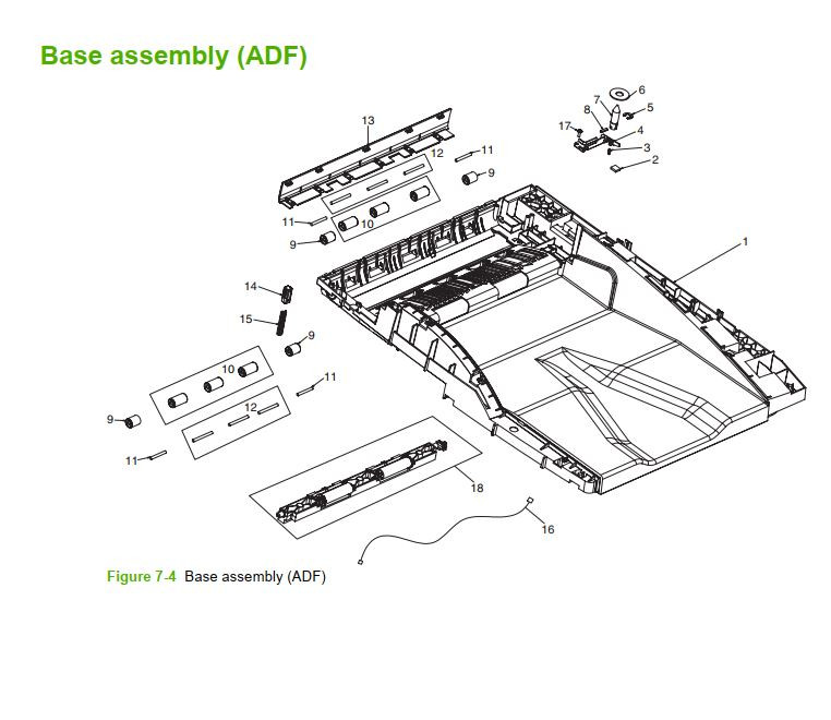 4. HP M5025 M5035 Base Assembly ADF printer part diagrams