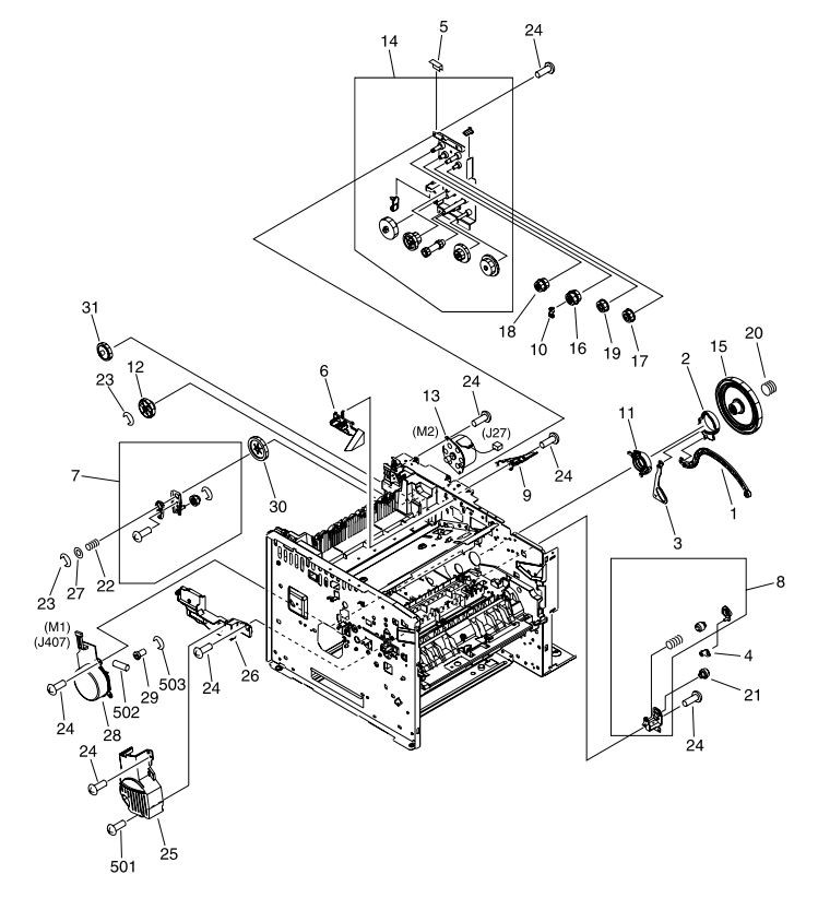 4. HP M3027 M3035 Internal assemblies 2 of 5 printer parts diagram