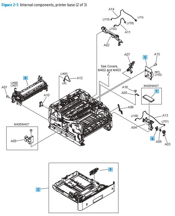 5. HP M402 M403 M426 M427 Internal components 2 of 3 printer parts diagram