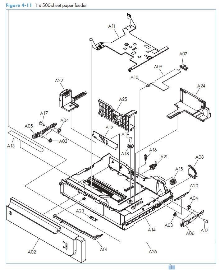 11. HP M551 1 x 500 sheet paper feeder printer parts diagram