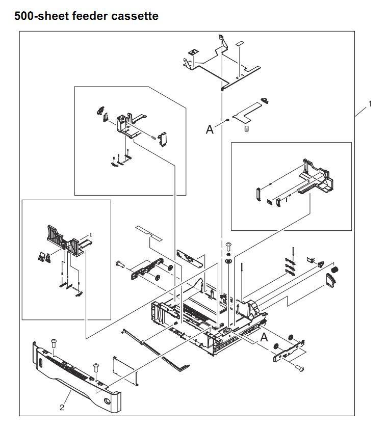 45. HP 4345 Q3942A 4345x Q3943A 4345xs Q3944A 4345xm Q3945A 500 sheet feeder cassette Printer Part Diagrams