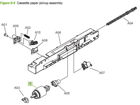 8) HP CP3525 Cassette paper pickup assembly printer parts diagram