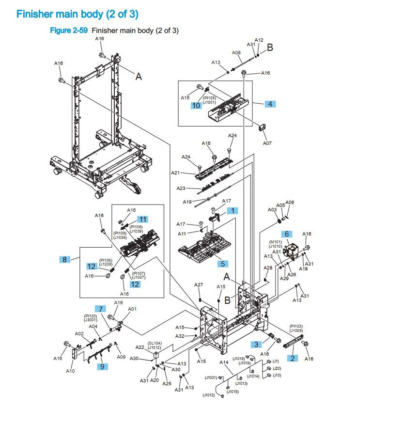 24. HP M855 M880 Finisher main body 2 of 3 printer part diagrams