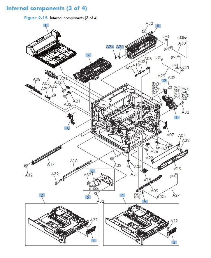 8. HP M725 Internal Components 3 of 4 printer part diagrams