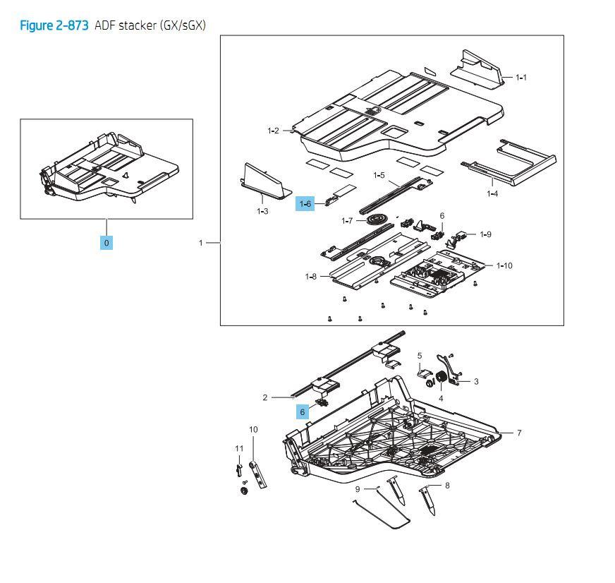 23. HP E87640 E87650 E87660 ADF Stacker GX / sGX Printer Part Diagrams