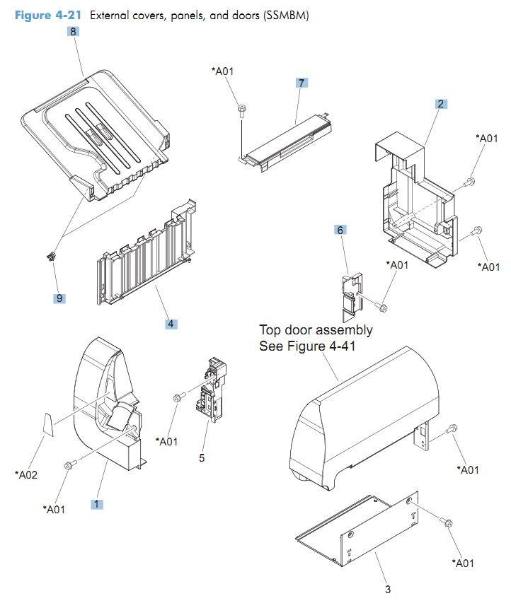 21. HP CM4540 External covers, panels and doors printer parts diagram