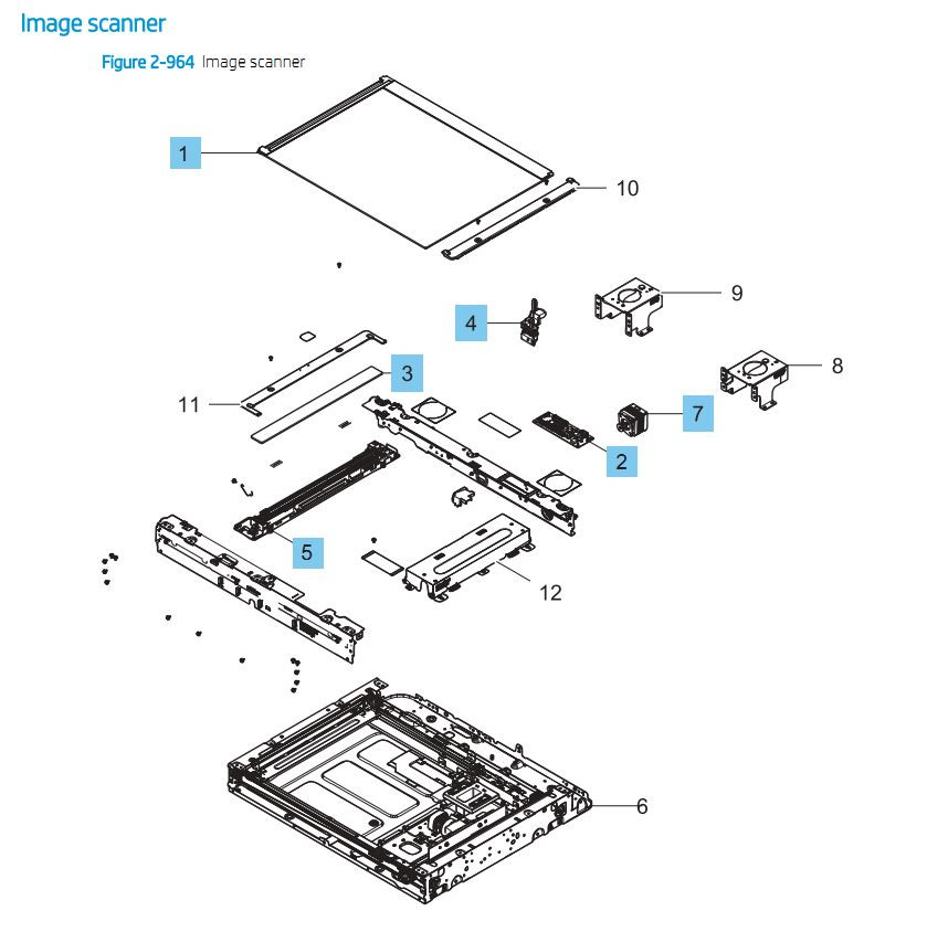 25. HP E87640 E87650 E87660 Image Scanner Printer Part Diagrams