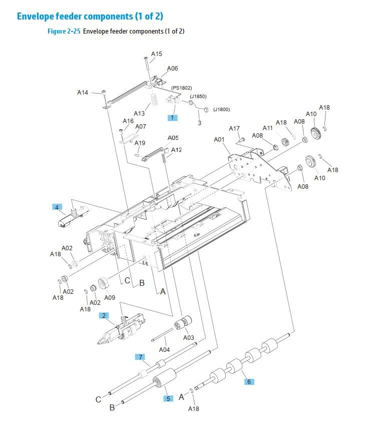 24. HP M630 Envelope feeder Components 1 of 2 printer parts diagram