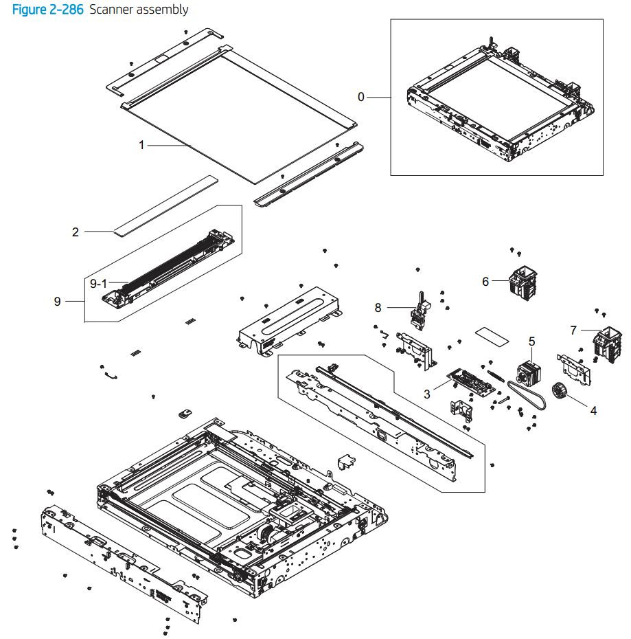 26. HP E77422 E77428 Scanner assembly printer parts diagram