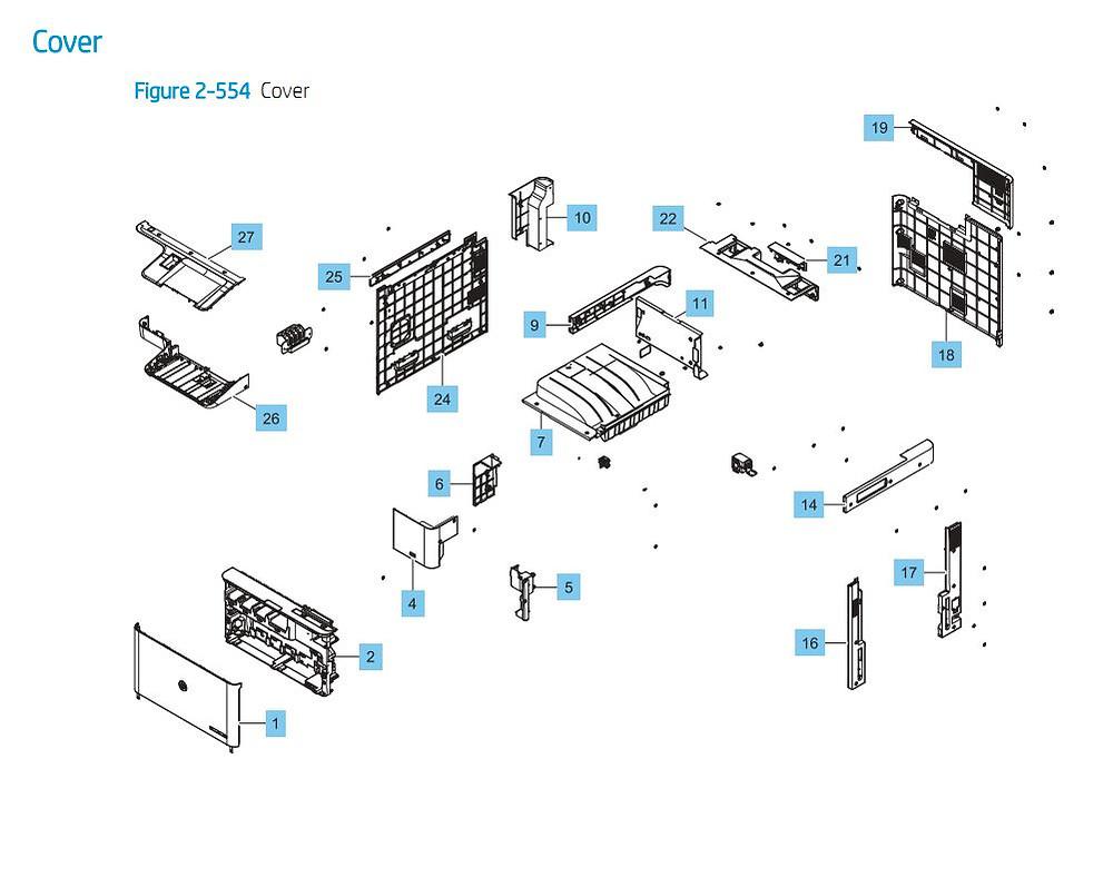 11. HP E87640 E87650 E87660 Cover Panels Doors Printer Part Diagrams