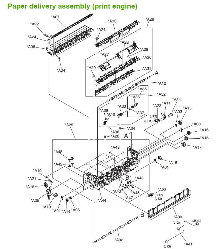 26. HP M5025 M5035 Paper delivery assembly print engine  printer part diagrams