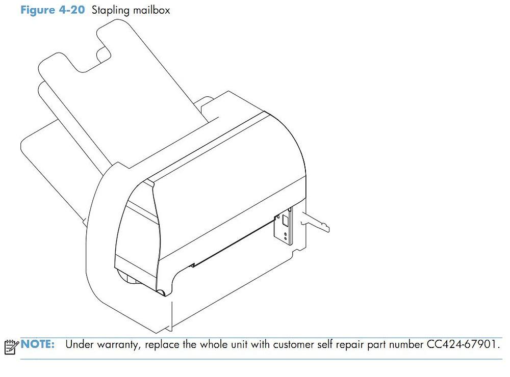 19. HP CM4540 Stapling mailbox printer parts diagram