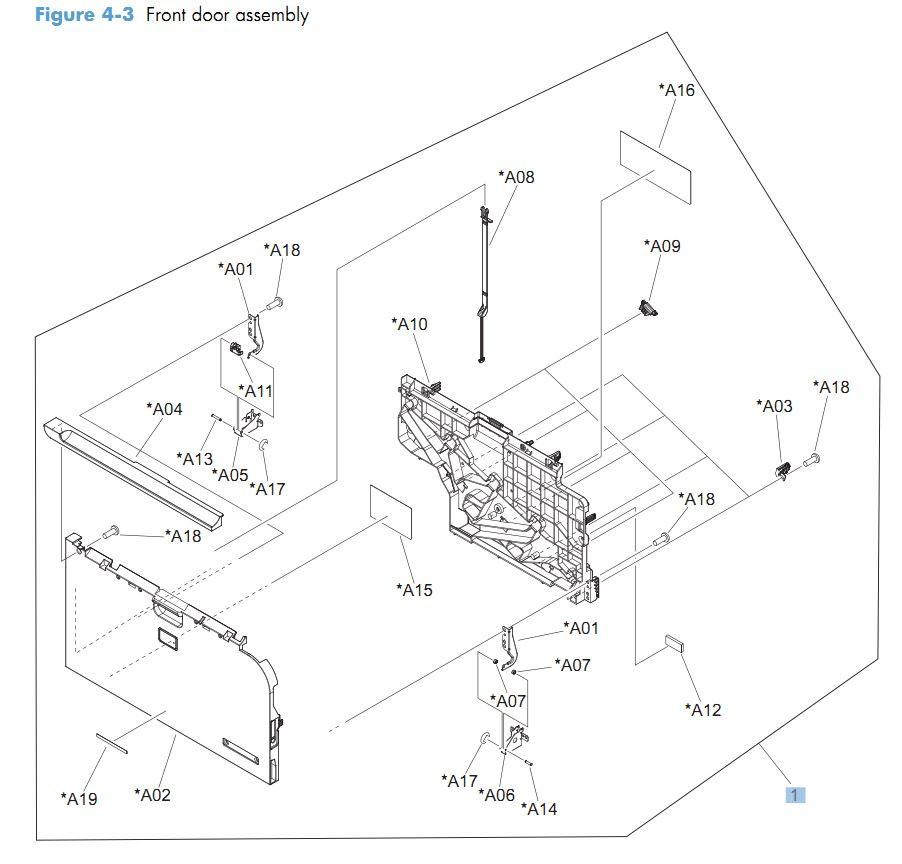 3. HP CM4540 Front door assembly printer parts diagram