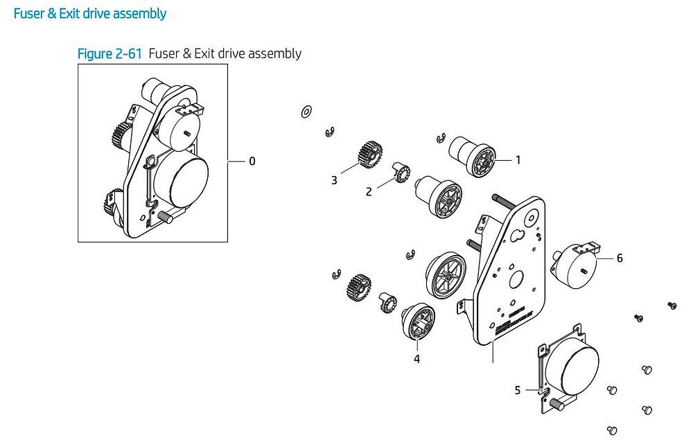 5. HP E72425 E72430 fuser and exit drive assembly printer parts diagram