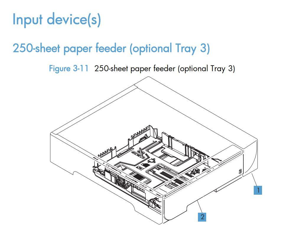 11.  HP LaserJet M375 M475 250 sheet paper feeder tray 3 printer part diagrams