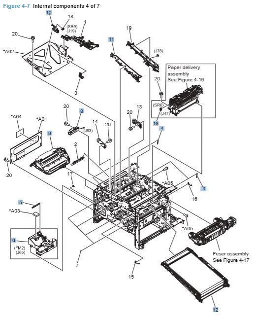 7) HP CP4025 CP4525 Internal Components 4 of 7 Printer Diagram