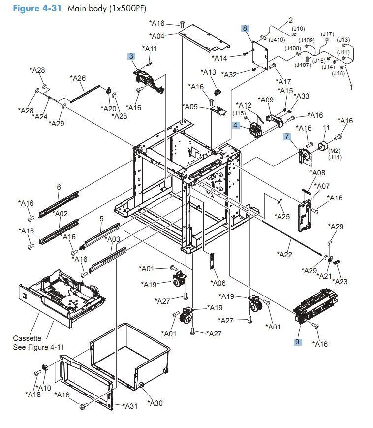 31. HP CM4540 Main body 1 x 500 and 3 x 500 printer parts diagram