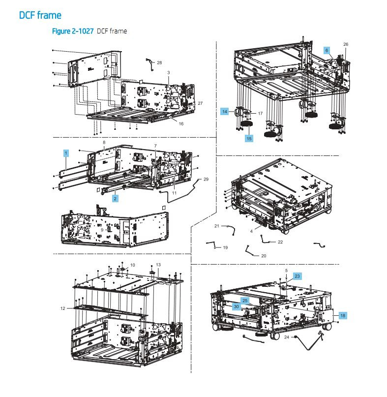 28. HP E87640 E87650 E87660 Duel Cassette Feeder DCF Frame Paper Tray Printer Part Diagrams