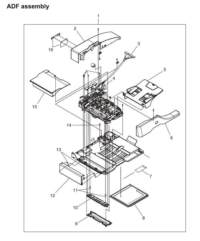 25. HP 4345 Q3942A 4345x Q3943A 4345xs Q3944A 4345xm Q3945A ADF assembly Printer Part Diagrams
