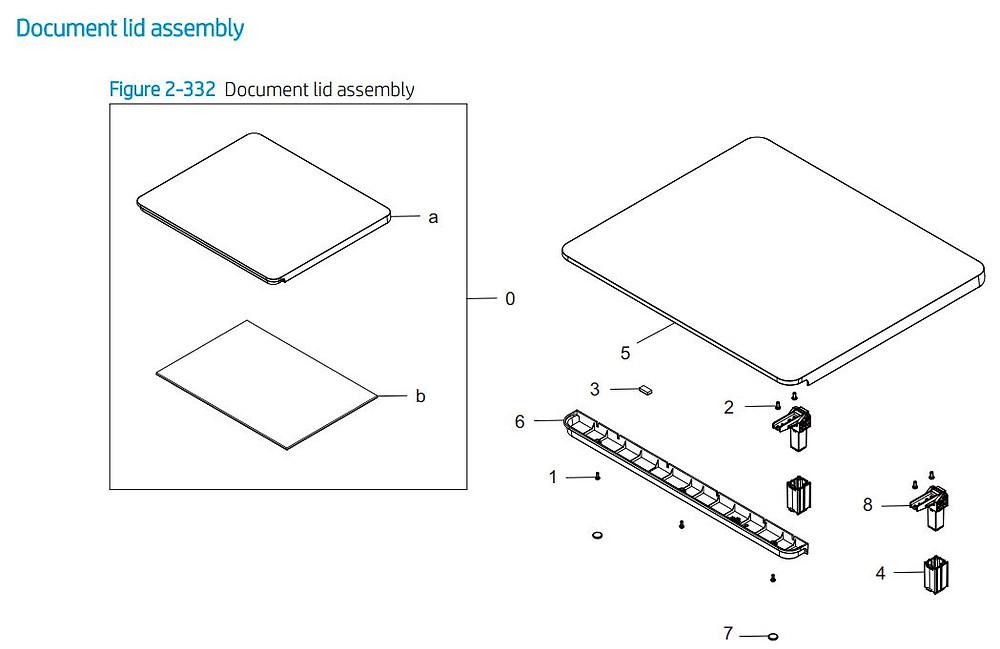 22. HP E72425 E72430 Document lid assembly main printer parts diagram