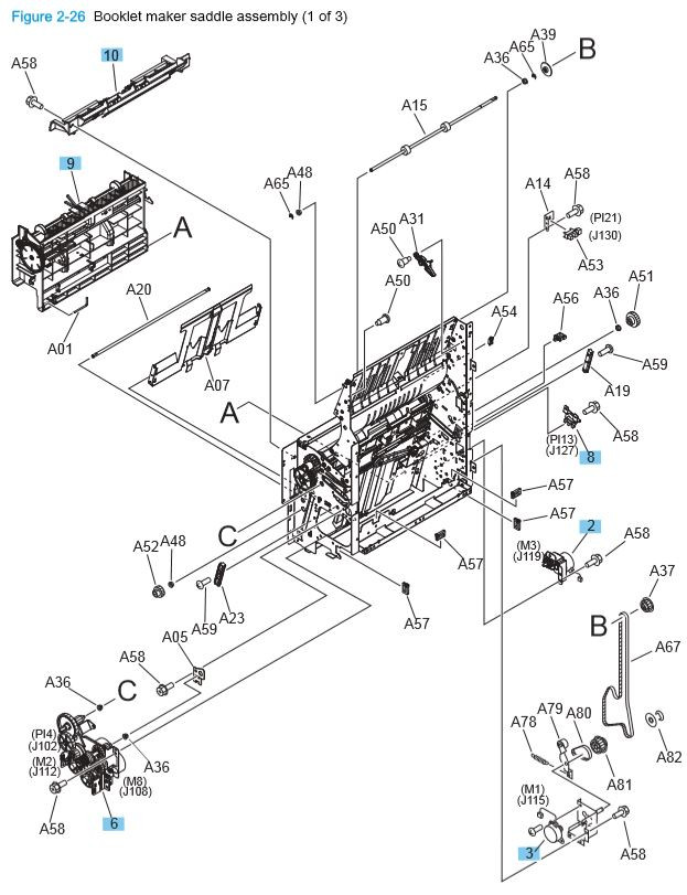 20) HP M806 M830 Booklet maker saddle assembly 1 of 3 printer parts diagram