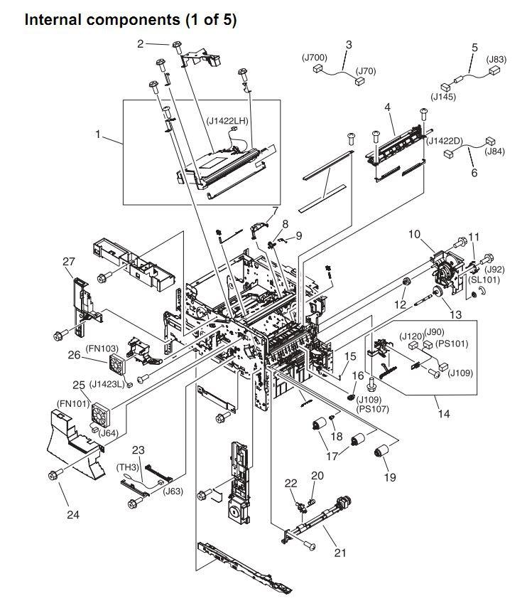 9. HP 4345 Q3942A 4345x Q3943A 4345xs Q3944A 4345xm Q3945A Internal components 1 or 5 Printer Part Diagrams