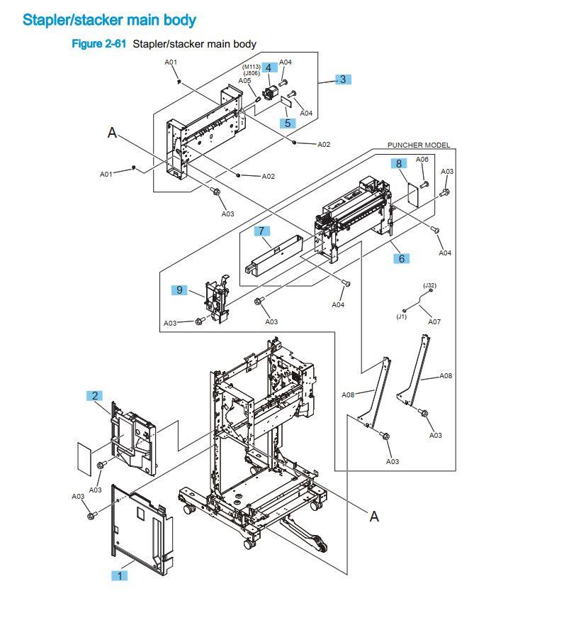 26. HP M855 M880 Stapler stacker main body printer part diagrams