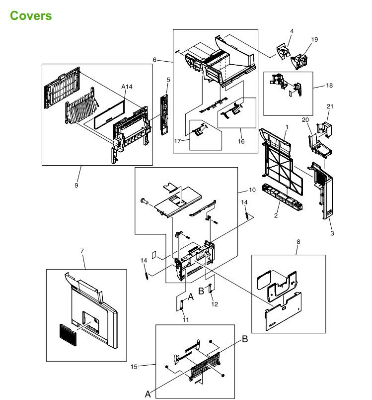 P M3027 M3035 Covers, Panels and doors printer parts diagram