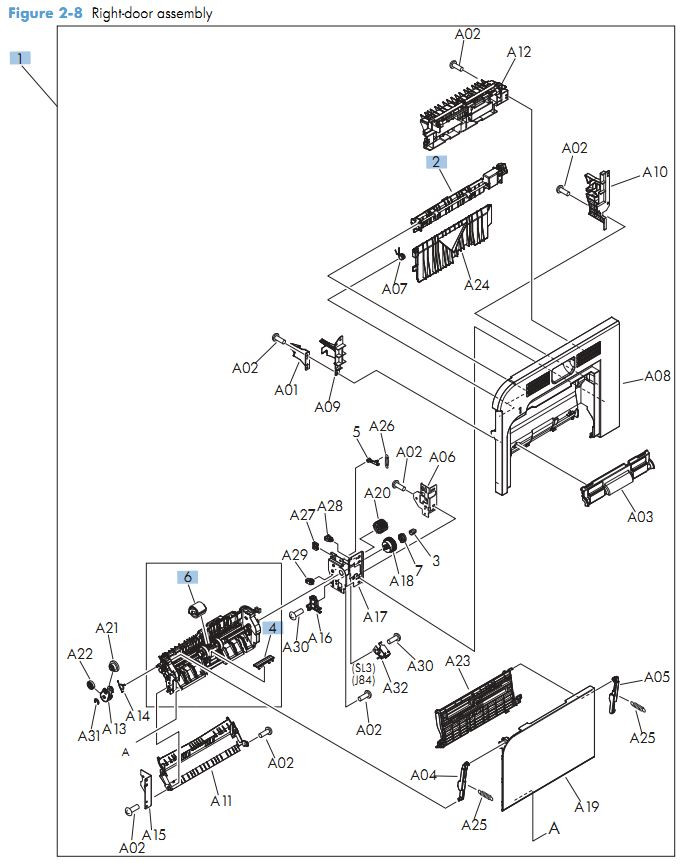 6 . HP M575 Right door assembly printer parts diagram