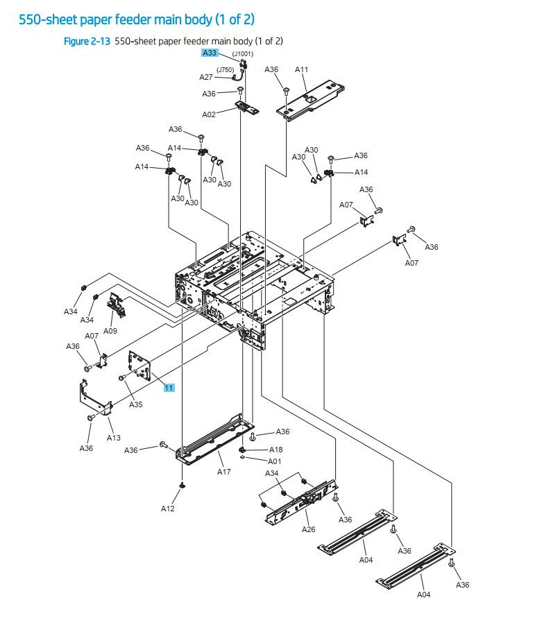 10. HP M454 M479 550 sheet paper feeder main body 1 of 2 printer parts diagram