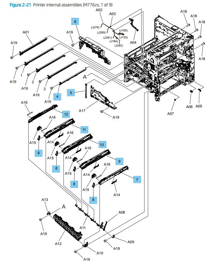 21. HP M776dn Printer internal assemblies 1 of 9 printer parts diagram