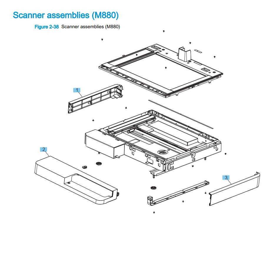 4. HP M880 Scanner assembly printer part diagrams