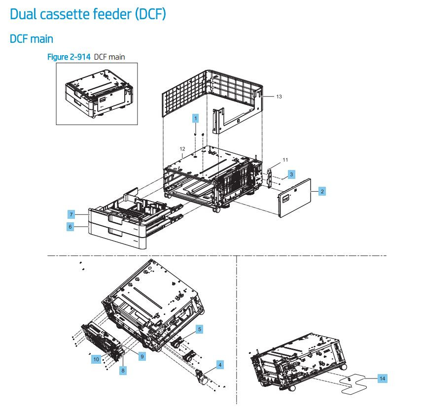 28. HP LaserJet E82540 E82550 E82560 Duel paper tray cassette feeder DCF Printer Parts Diagram