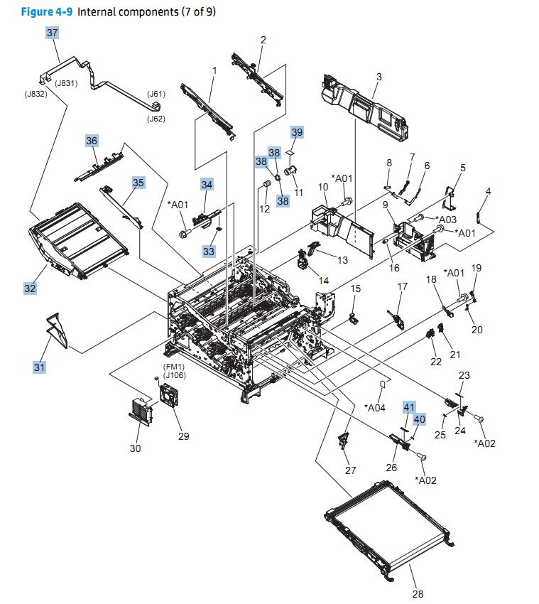 9. HP CP5525n Internal Components 7 of 9 printer parts diagram