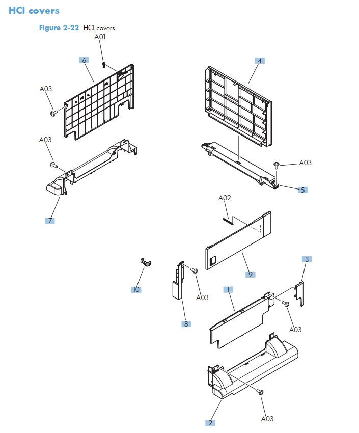 15. HP M725 HCI high capacity feeder covers printer part diagrams