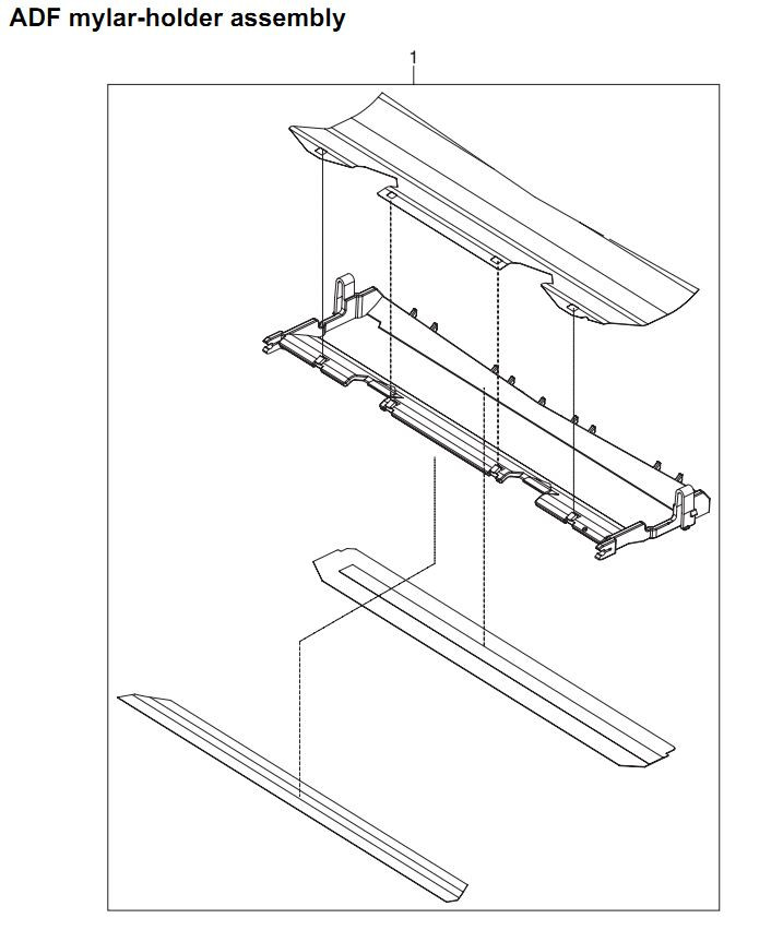 34. HP 4345 Q3942A 4345x Q3943A 4345xs Q3944A 4345xm Q3945A ADF mylar holder assembly Printer Part Diagrams