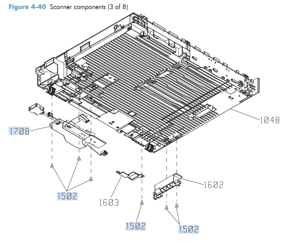 34. HP M4555 Scanner Components 3 of 8 printer parts diagram