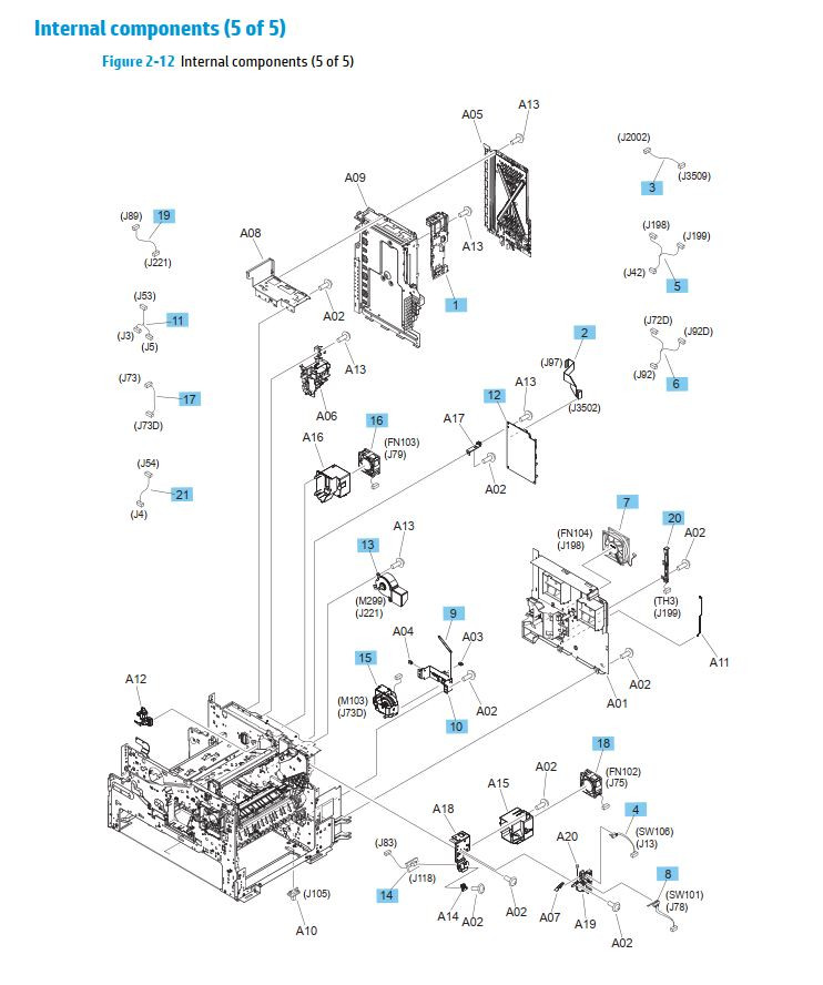 11. HP M630 Internal assemblies 5 of 5 printer parts diagram