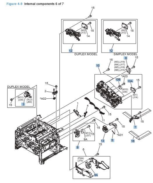 9) HP CP4025 CP4525 Internal Components 6 of 7 Printer Diagram