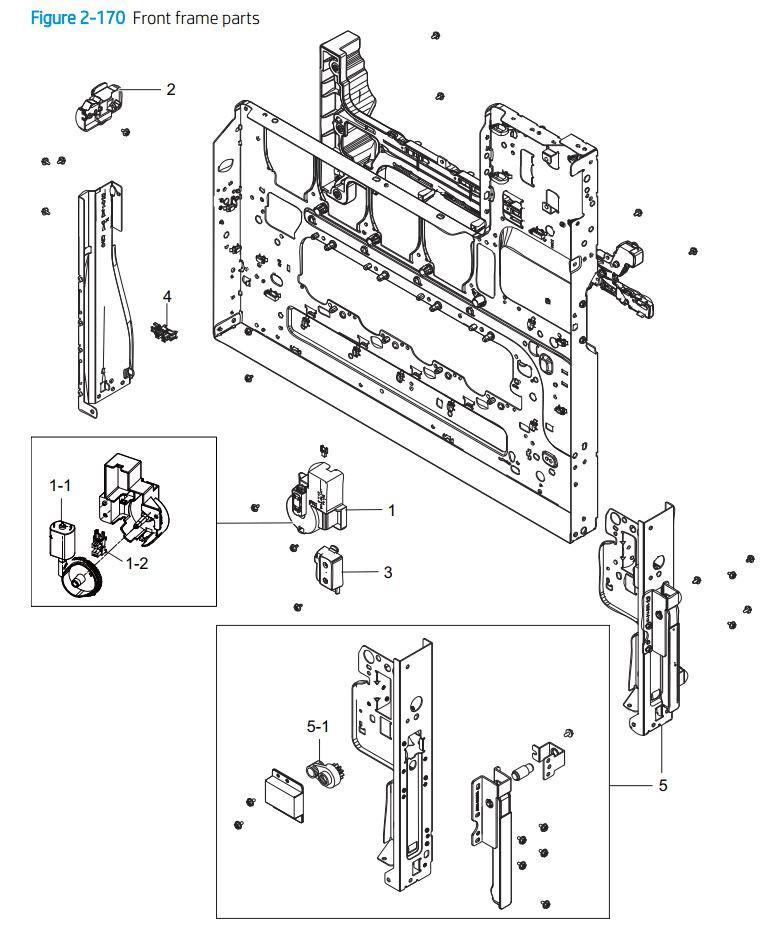 14. HP E77422 E77428 Front frame parts printer parts diagram